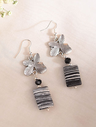 Black White Handcrafted Earrings With Malachite And Crystal