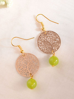 Green Gold Tone Handcrafted Earrings With Onyx