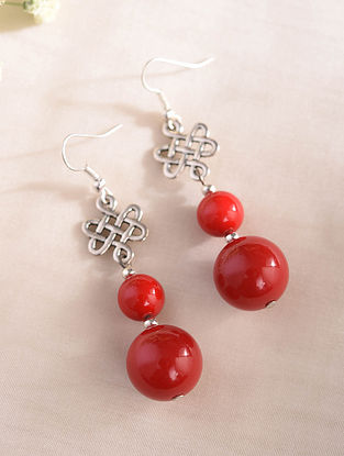 Red Silver Tone Handcrafted Earrings With Coral