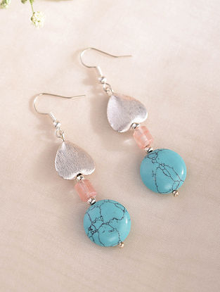 Turquoise Pink Handcrafted Earrings With Quartz