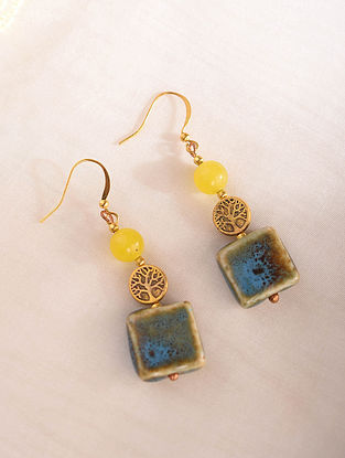 Yellow Blue Handcrafted Earrings With Agate
