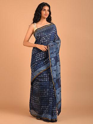 Indigo Natural Dyed Block Printed Chanderi Saree