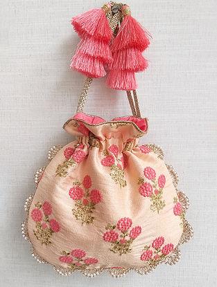 Peach Embroidered Chanderi Silk Potli