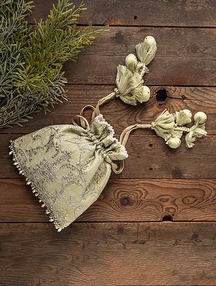 Mint Green Embroidered Silk Potli