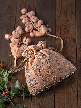 Peach Embroidered Silk Potli