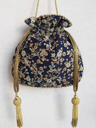 Navy Blue Embroidered Poly Silk Potli