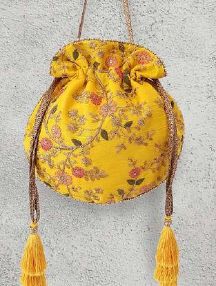 Yellow Embroidered Poly Silk Potli