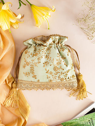 Mint Green Embroidered Poly Silk Potli