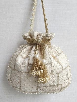 Off White Embroidered Georgette Potli