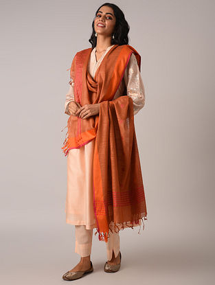 Orange Handloom Cotton Linen Dupatta