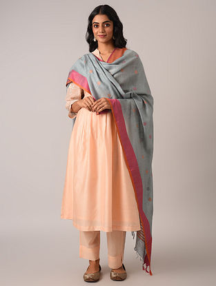 Grey Handloom Cotton Linen Dupatta