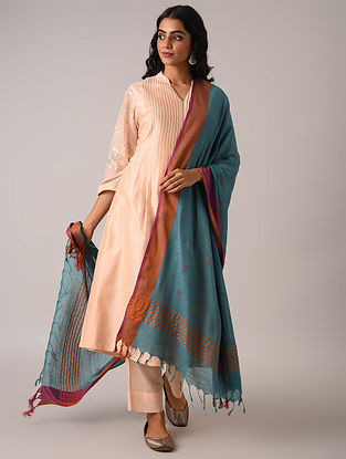 Blue Handloom Cotton Linen Dupatta