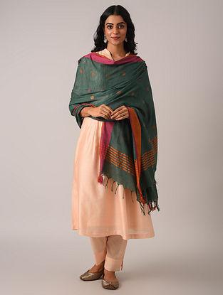 Green Handloom Cotton Linen Dupatta