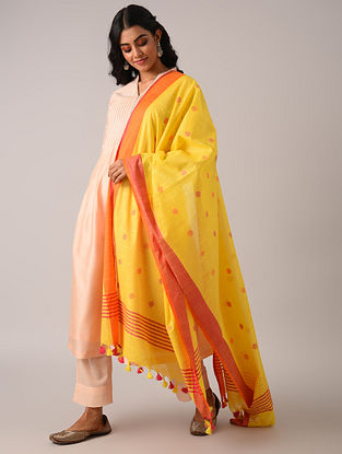 Yellow Handloom Cotton Linen Dupatta