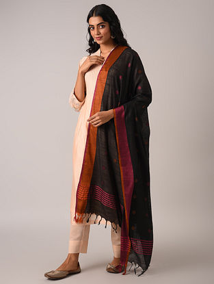 Black Handloom Cotton Linen Dupatta