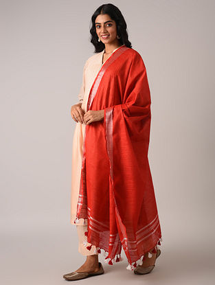 Red Handloom Cotton Linen Dupatta