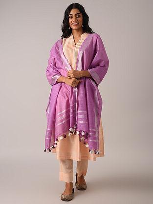 Purple Handloom Cotton Linen Dupatta