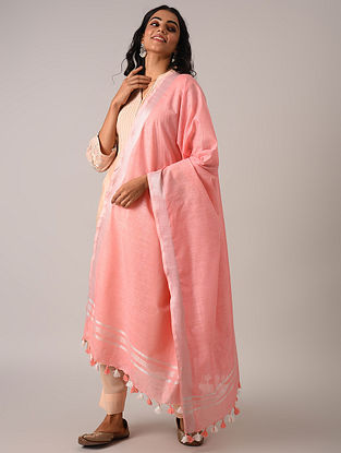 Pink Handloom Cotton Linen Dupatta