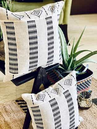 White and Black Hand Woven Naga Cushion Cover (L - 16in, W - 16in)