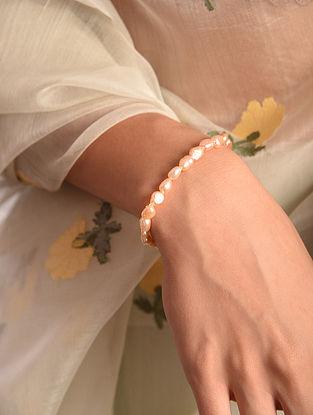 Peach Baroque Pearl Silver Bracelet