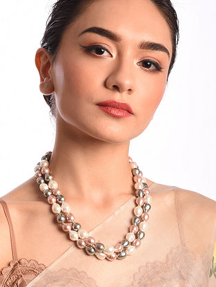 Grey Pink White Baroque Pearl Beaded Silver Necklace