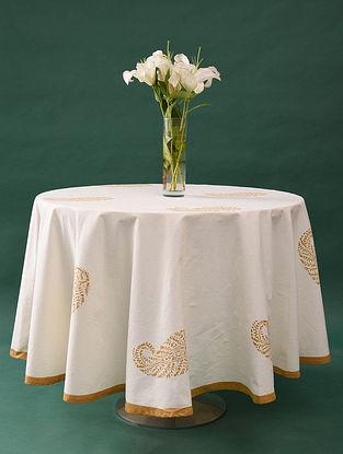 Multicolor Handblock Printed Cotton Table Cover (L - 79in, W - 79in)