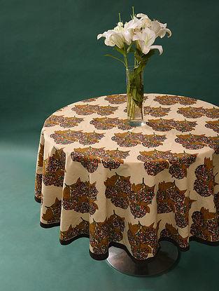 Multicolor Handblock Printed Cotton Table Cover (L - 65in, W - 65in)