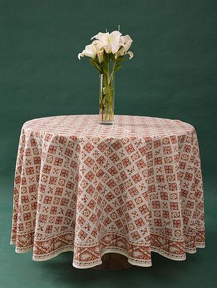 Multicolor Handblock Printed Cotton Table Cover (L - 86in, W - 86in)