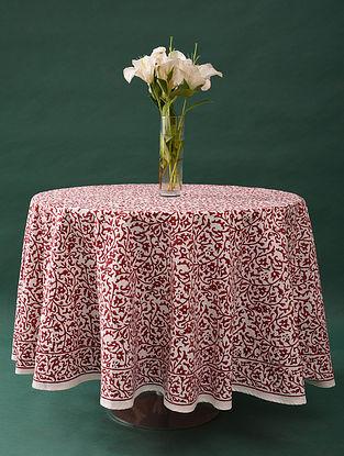 Multicolor Handblock Printed Cotton Table Cover (L - 80in, W - 80in)