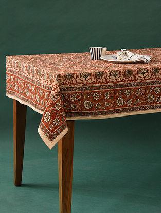 Multicolor Handblock Printed Cotton Table Cover (L - 60in, W - 60in)