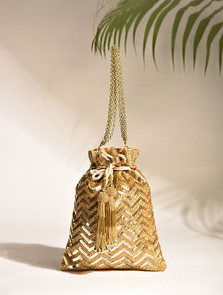 Gold Silver Handcrafted Sequinned Silk Potli