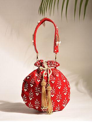 Red Embroidered Zardozi Velvet Potli