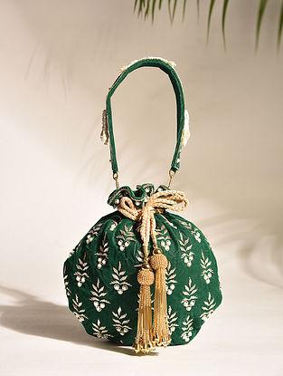 Emerald Green Embroidered Zardozi Velvet Potli