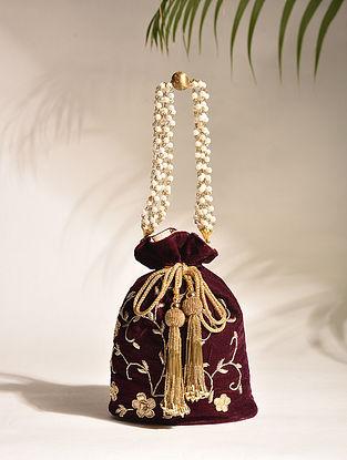 Wine Embroidered Zardozi Velvet Potli