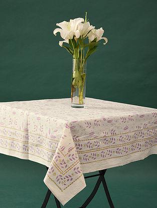 Multicolor Handblock Printed Cotton Table Cover (L - 45in, W - 45in)