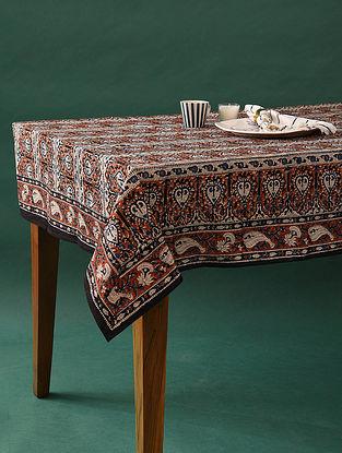 Multicolor Handblock Printed Cotton Table Cover (L - 90in, W - 60in)