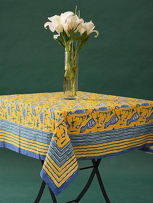 Multicolor Handblock Printed Cotton Table Cover (L - 48in, W - 46in)