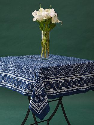 Multicolor Handblock Printed Cotton Table Cover (L - 47in, W - 47in)
