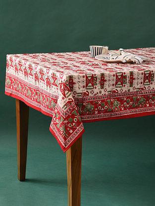 Multicolor Handblock Printed Cotton Table Cover (L - 90in, W - 58in)