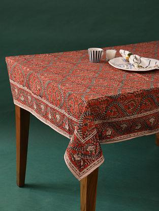 Multicolor Handblock Printed Cotton Table Cover (L - 88in, W - 57in)