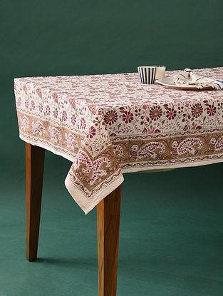 Multicolor Handblock Printed Cotton Table Cover (L - 88in, W - 60in)