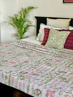 Multicolor Kantha Bed Cover (L - 106in, W - 86in)