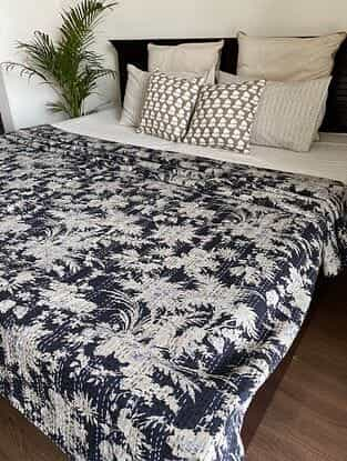 Black and Off White Kantha Bed Cover (L - 106in, W - 86in)