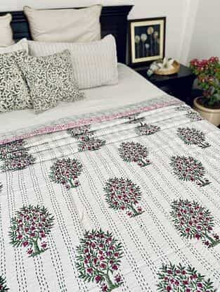Multicolor Hand Block Printed Kantha Bed Cover (L - 104in, W - 88in)