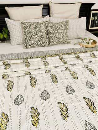 Multicolor Hand Block Printed Kantha Bed Cover (L - 105in, W - 88in)