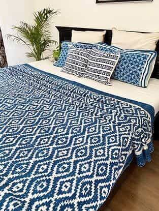 White and Blue Hand Block Printed Kantha Bed Cover (L - 104in, W - 88in)