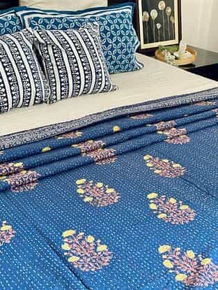 Blue and Orange Hand Block Printed Kantha Bed Cover (L - 104in, W - 80in)