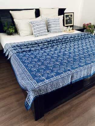 Indigo Blue Hand Block Printed Kantha Bed Cover (L - 104in, W - 86in)