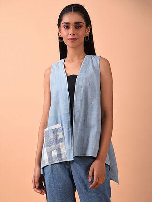 Blue Naturally Dyed Jamdani Hand Spun Cotton Overlay