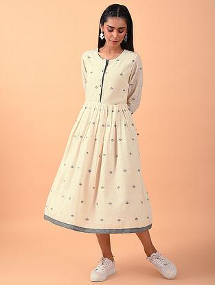 Beige Jamdani Hand Spun Cotton Dress